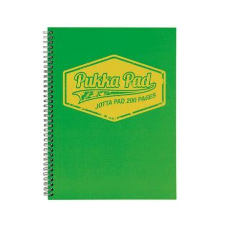 """Spirálfüzet, A4, vonalas, 100 lap, PUKKA PAD """"Neon"""", zöld"""