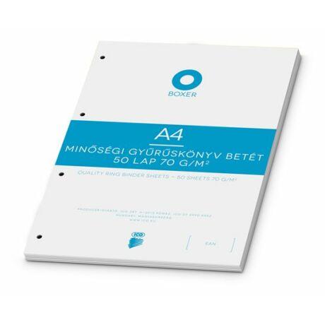 Gyűrűs könyv betét, A4, vonalas, 50 lap, BOXER, fehér