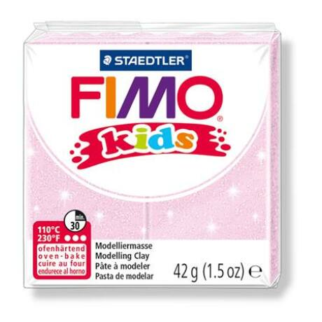 """Gyurma, 42 g, égethető, FIMO """"Kids"""", gyöngyház világos rózsaszín"""