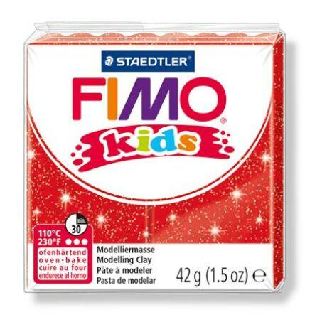 "Gyurma, 42 g, égethető, FIMO ""Kids"", glitteres piros"