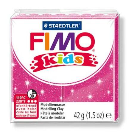 """Gyurma, 42 g, égethető, FIMO """"Kids"""", glitteres rózsaszín"""