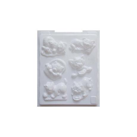 Cre Art gipszkiöntő forma, PP öntőforma, fehér, Cicák