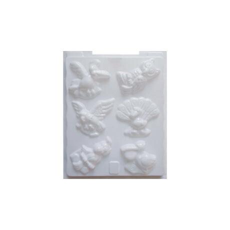 Cre Art gipszkiöntő forma, PP öntőforma, fehér, Madarak