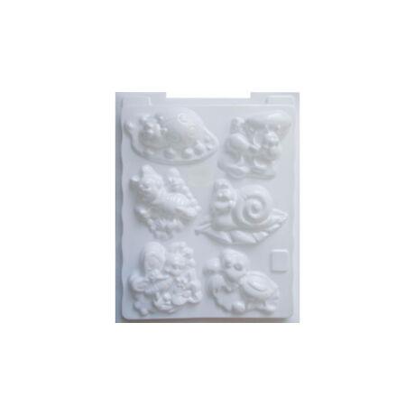 Cre Art gipszkiöntő forma, PP öntőforma, fehér, Erdei élőlények