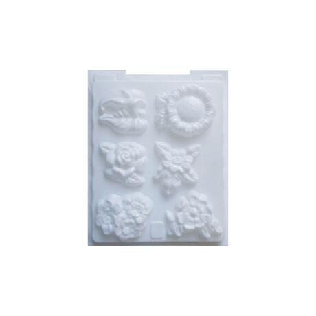 Cre Art gipszkiöntő forma, PP öntőforma, fehér, Virágok
