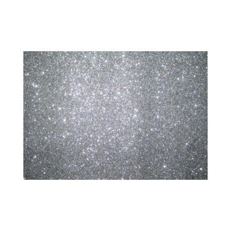 Cre Art csillámos dekorgumi lap, A/4, 2mm, ezüst