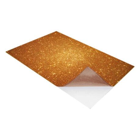 Cre Art öntapadó csillámos dekorgumi lap, A/4, 2 mm, arany