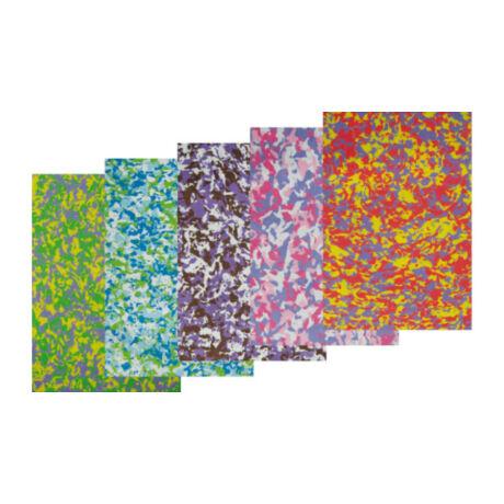 Cre Art dekorgumi lap, A/4, 2 mm, terepmintás, vegyes színekben 5 db/csomag