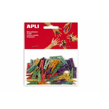 Csipesz, fa, 25x3 mm, APLI, színes