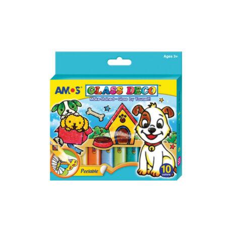 Amos üvegmatrica festék készlet, 10x10,5 ml (9 szín+1 kontúr)