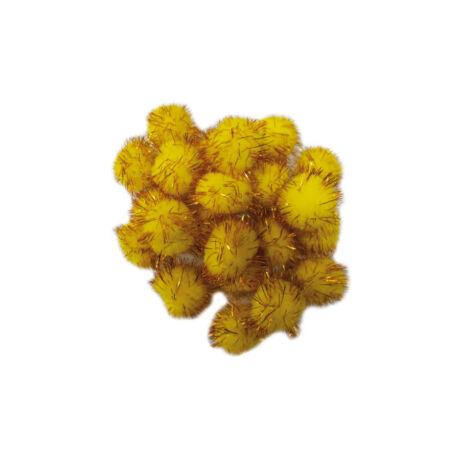 Cre Art pompon 30 mm, kb. 30 db/csomag, metál arany