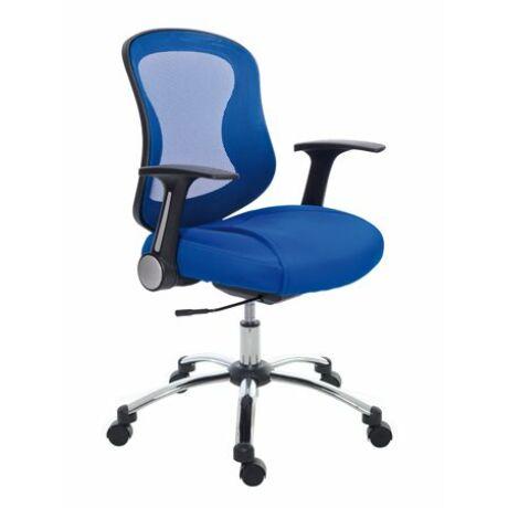 Irodai szék, karfával, kék szövetborítás, feszített hálós háttámla, króm lábkereszt, MAYAH...
