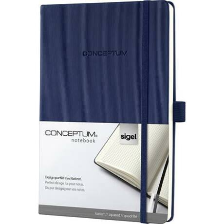 """Jegyzetfüzet, exkluzív, A4, vonalas, 194 oldal, keményfedeles, SIGEL """"Conceptum"""", éjkék"""