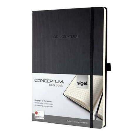 """Jegyzetfüzet, exkluzív, A5, kockás, 194 oldal, keményfedeles, SIGEL """"Conceptum"""", fekete"""