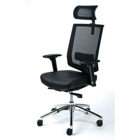 Exkluzív fejtámaszos irodai szék, fekete bőrborítás, feszített hálós háttámla, alumínium l...