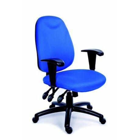 """Irodai szék, állítható karfával, exkluzív kék szövetborítás, fekete lábkereszt, MAYAH """"Ene..."""