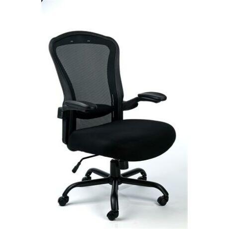 Irodai szék,állítható karfával, fekete szövetborítás, feszített hálós háttámla,fekete lábk...