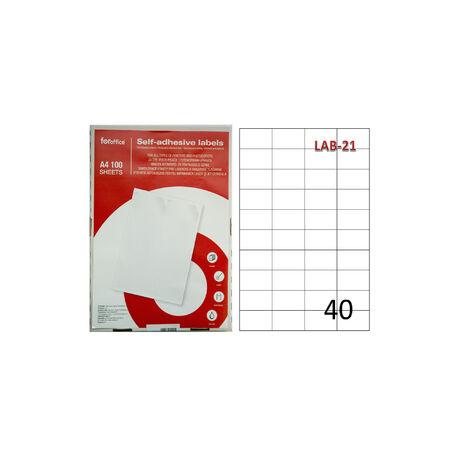 Etikett FOROFFICE 52,5 x 29,7 mm 40db/ív