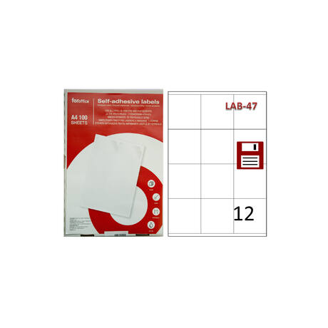 Etikett FOROFFICE 70 x 67,7 mm , floppy lemezre, 12db/ív