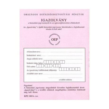 TB (OEP) kiskönyv KPE.160