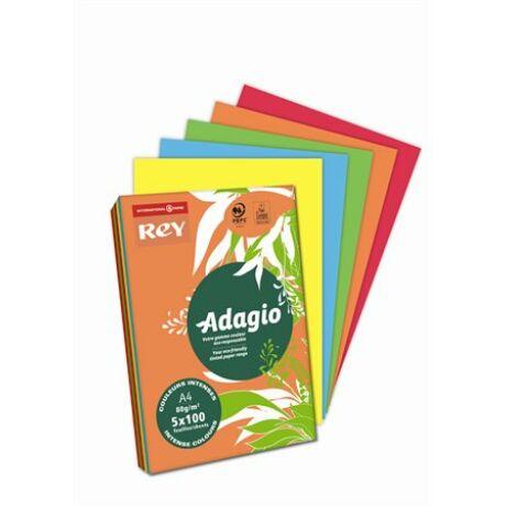 """Másolópapír, színes, A4, 80 g, 5x100 lap, REY """"Adagio"""", intenzív mix"""