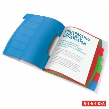 """Előrendező, A4, 6 részes, műanyag, ESSELTE """"Vivida"""", áttetsző"""