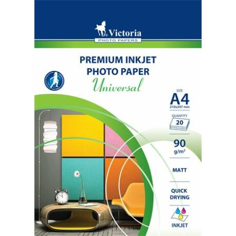 "Fotópapír, tintasugaras, A4, 90 g, matt, VICTORIA ""Universal"""