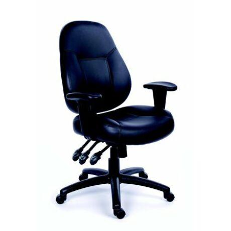 """Irodai szék, állítható karfával, fekete bonded bőrborítás, fekete lábkereszt, MAYAH """"Champ..."""