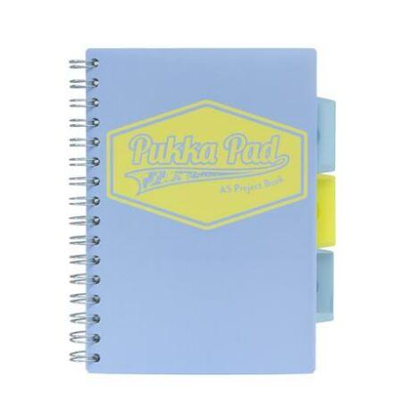 """Spirálfüzet, A5, vonalas, 100 lap, PUKKA PAD """"Pastel project book"""", vegyes szín"""