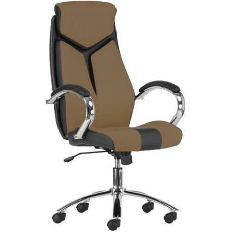 """Főnöki szék, műbőr borítás, króm lábkereszt, """"KENT"""", fekete/barna"""