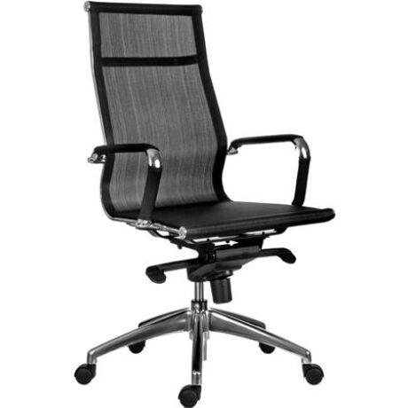 """Főnöki szék, hálós háttámla, alumínium lábkereszt, """"MISSOURI"""", fekete"""
