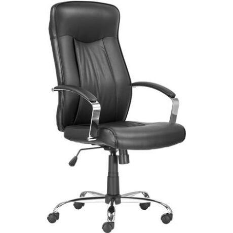 """Főnöki szék, műbőr borítás, króm lábkereszt, """"MONTGOMERY"""", fekete"""