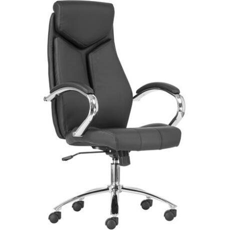 """Főnöki szék, műbőr borítás, króm lábkereszt, """"KENT"""", fekete/fekete"""