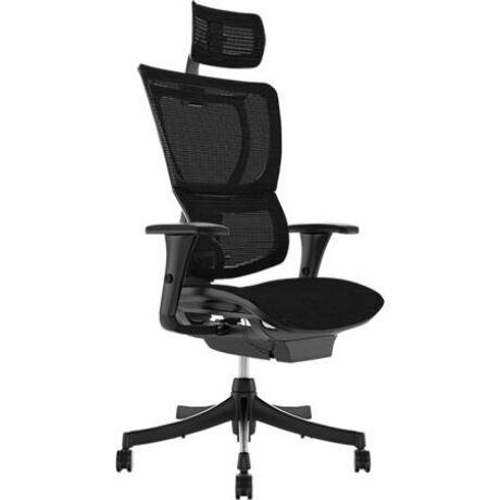 """Főnöki szék, állítható karfával, feszített hálós háttámla, fekete lábkereszt """"Mirus"""", feke..."""