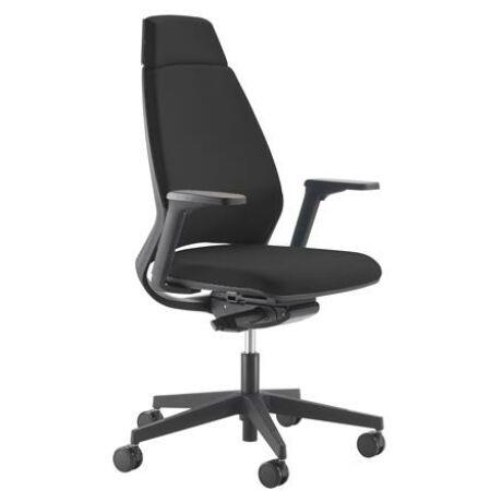 """Irodai szék, fejtámlás, állítható karfával, fekete lábkereszt """"1890 INFINITY"""", fekete"""