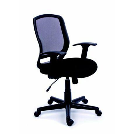Irodai szék, karfás, fekete szövetborítás, feszített hálós háttámla, fekete lábkereszt