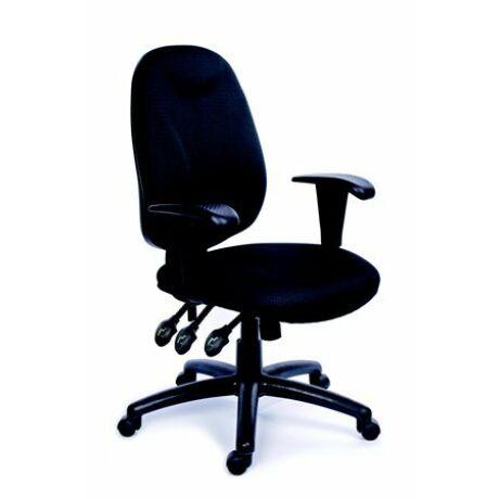 """Irodai szék, állítható karfás, exkluzív fekete szövetborítás, fekete lábkereszt, MAYAH """"En..."""