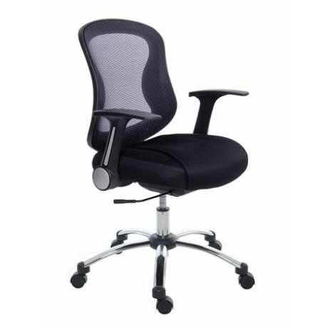 Irodai szék, karfás, fekete szövetborítás, feszített hálós háttámla, króm lábkereszt, MAYA...