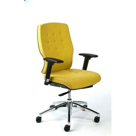 """Irodai szék, állítható karfával, sárga szövetborítás, alumínium lábkereszt, MAYAH """"Sunshin..."""