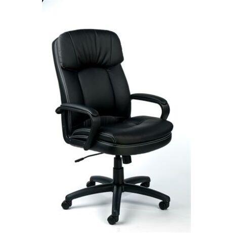 """Főnöki szék, hintamechanikával, fekete bonded bőrborítás, fekete lábkereszt, MAYAH """"Duke"""""""