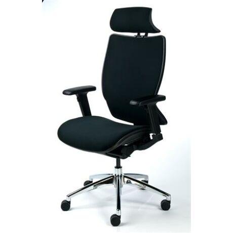 Főnöki szék, fejtámasszal, fekete szövetborítás, feszített szövet háttámla, fekete lábkere...