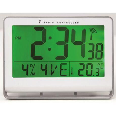 """Falióra, rádióvezérlésű, LCD kijelzős, 22x20 cm, ALBA """"Horlcdneo"""", ezüst"""