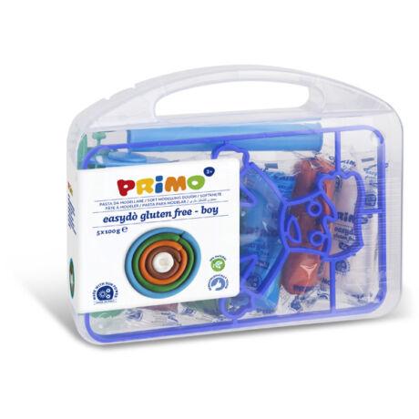 Gyurma készlet PRIMO EasyDo gluténmentes, 5x100g, 5 szín + fiú sablon és formázó ezközök, műanyag dobozban