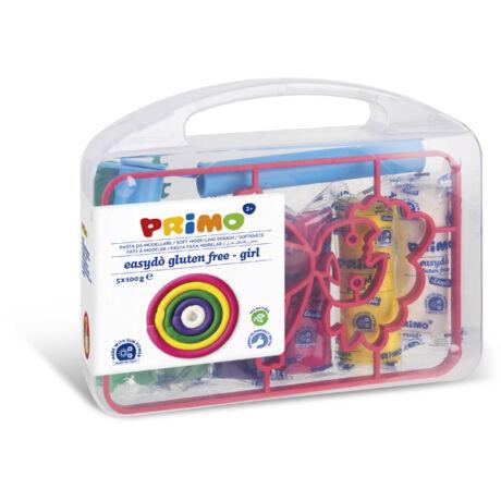Gyurma készlet PRIMO EasyDo gluténmentes, 5x100g, 5 szín + lány sablon és formázó ezközök, műanyag dobozban
