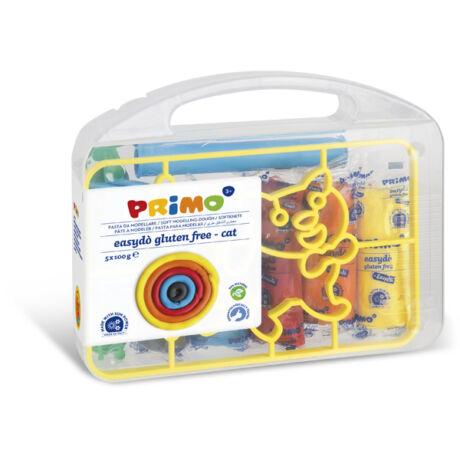 Gyurma készlet PRIMO EasyDo gluténmentes, 5x100g, 5 szín + macska sablon és formázó ezközök, műanyag dobozban
